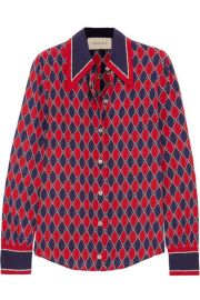 Gucci   Printed silk crepe de chine shirt at Net A Porter