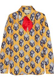 Gucci   Pussy-bow printed silk-twill shirt at Net A Porter