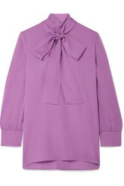 Gucci - Pussy-bow silk-crepe blouse at Net A Porter