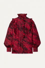 Gucci - Ruffled printed silk-twill shirt at Net A Porter