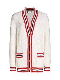 Gucci - Wool  amp  Silk GG Intarsia V-Neck Cardigan at Saks Fifth Avenue