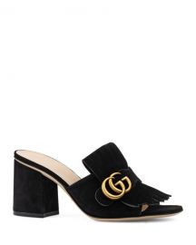 Gucci 75mm Marmont Suede Slide at Neiman Marcus