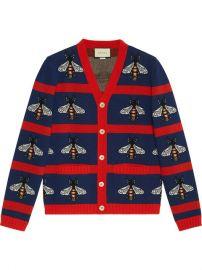 Gucci Bee Jacquard Wool Cardigan at Farfetch