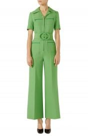 Gucci Belted Wide Leg Wool  amp  Silk Cady Jumpsuit   Nordstrom at Nordstrom