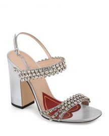 Gucci Bertie Crystal Strappy Sandals at Neiman Marcus