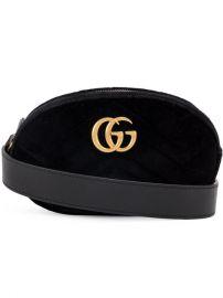 Gucci Black Marmont Velvet Belt Bag at Farfetch