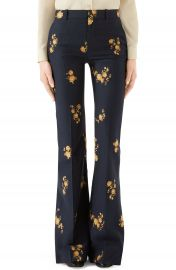 Gucci Camellia Fil Coup   Cotton  amp  Wool Flare Pants   Nordstrom at Nordstrom