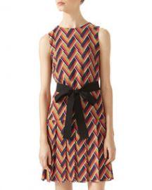 Gucci Chevron Print Pleated Dress at Bergdorf Goodman