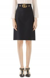 Gucci Double G Wool  amp  Silk Crepe A-Line Skirt   Nordstrom at Nordstrom