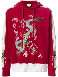 Gucci Dragon Appliqu  233  Velvet Hoodie at Farfetch