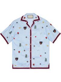 Gucci Embroidered Cotton Bowling Shirt - Farfetch at Farfetch
