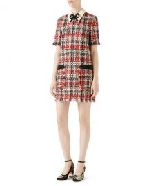 Gucci Embroidered Multicolor Tweed Dress   Neiman Marcus at Neiman Marcus