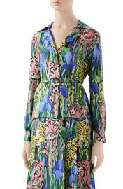 Gucci Feline Garden Print Silk Twill Blouse   Nordstrom at Nordstrom