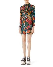 Gucci Floral Print Silk Dress at Neiman Marcus