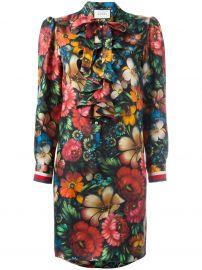 Gucci Floral Ruffled Dress at Farfetch