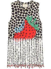 Gucci Fringe Tank With Gucci Strawberry Print - Farfetch at Farfetch