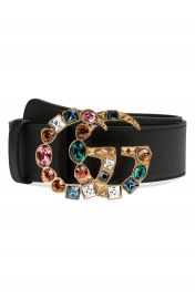 Gucci GG Marmont Crystal Buckle Leather Belt at Nordstrom