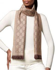 Gucci GG Pattern Scarf Light BrownDark Brown at Neiman Marcus