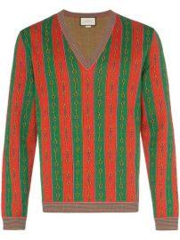 Gucci Horsebit Chain Print v-neck Sweater  - Farfetch at Farfetch