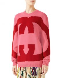Gucci Interlocking Intarsia GG Wool Sweater at Neiman Marcus