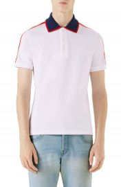Gucci Jacquard Stripe Sleeve Piqu   Polo at Nordstrom