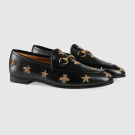 Gucci Jordaan embroidered leather loafer at Gucci