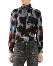 Gucci LS PRINT SHIRT W SELF SCARF at Neiman Marcus