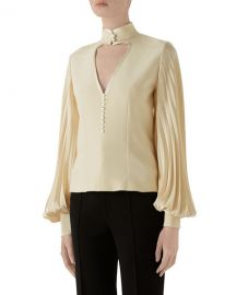 Gucci Long-Sleeve Silk Blouse at Neiman Marcus