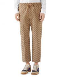 Gucci Men  x27 s Logo-Print Drawstring Canvas Pants at Neiman Marcus