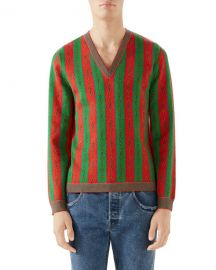 Gucci Men  x27 s Scarf-Print V-Neck Sweater at Neiman Marcus