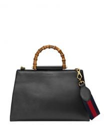 Gucci Nymphea Medium Bamboo-Handle Tote Bag  Black Red at Neiman Marcus