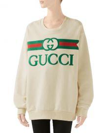 Gucci Oversized Logo-Embroidered Sweatshirt at Neiman Marcus