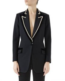 Gucci Peak-Lapel One-Button Wool Jacket w  Velvet Trim  amp  Pearl-Embroidery at Neiman Marcus