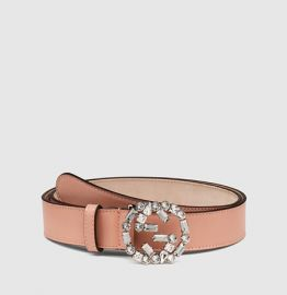 Gucci Pink Leather Crystal Buckle Belt at Gucci