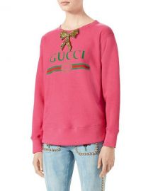 Gucci-Print Sweatshirt with Crystal Bow  Bright Pink at Neiman Marcus