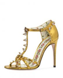 Gucci Regina Metallic T-Strap Sandal at Bergdorf Goodman