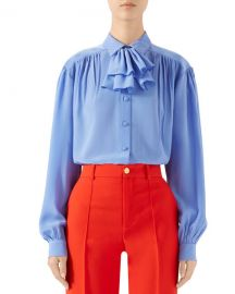Gucci Ruffled Jabot Crepe de Chine Shirt at Neiman Marcus