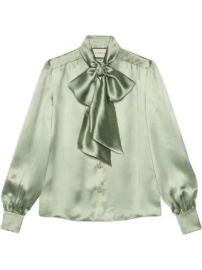Gucci Satin shirt with neck bow Satin shirt with neck bow at Farfetch