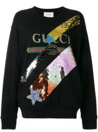 Gucci Sequinned Logo Sweatshirt - Farfetch at Farfetch