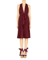 Gucci Shimmery Dotted Chiffon Halter Dress Violet at Neiman Marcus