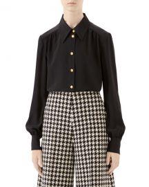 Gucci Silk Crepe de Chine Button-Front Blouse at Neiman Marcus