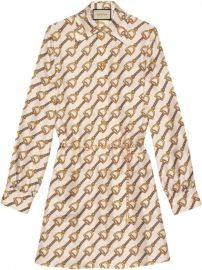 Gucci Silk Dress With Stirrups Print - Farfetch at Farfetch