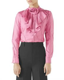 Gucci Silk Twill Button-Front Ruffle Shirt with Rose Detail at Neiman Marcus