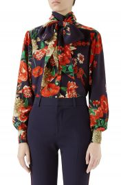 Gucci Spring Bouquet Print Tie Neck Silk Blouse   Nordstrom at Nordstrom