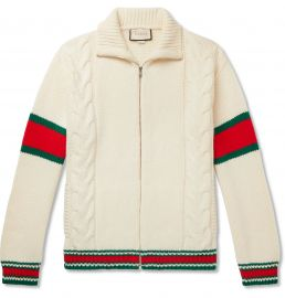 Gucci Striped Cable-Knit Wool Zip-Through Jacket at Mr Porter