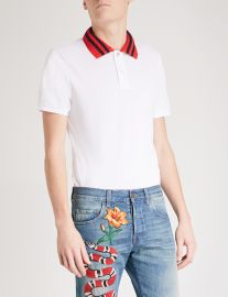 Gucci Striped Collar Polo Shirt at Selfridges