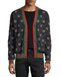 Gucci Tiger Argyle Wool Cardigan   Neiman Marcus at Neiman Marcus