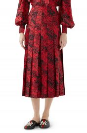 Gucci Tiger Print Pleated Silk Skirt at Nordstrom