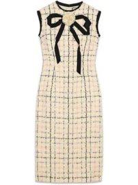Gucci Tweed sheath dress with bow at Farfetch