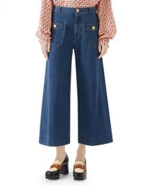 Gucci Washed Denim Wide-Leg Pants at Neiman Marcus